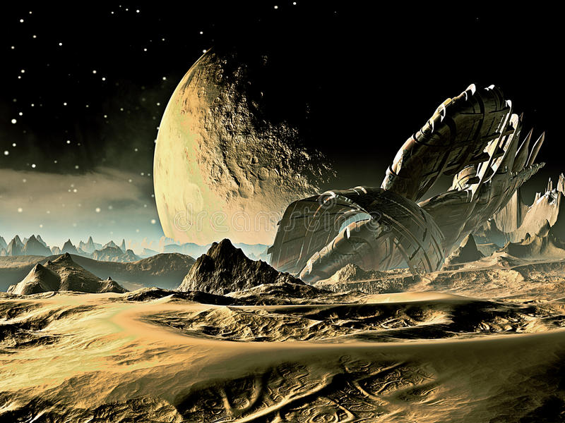 Kraschad Spaceship på den främmande världen royaltyfri illustrationer