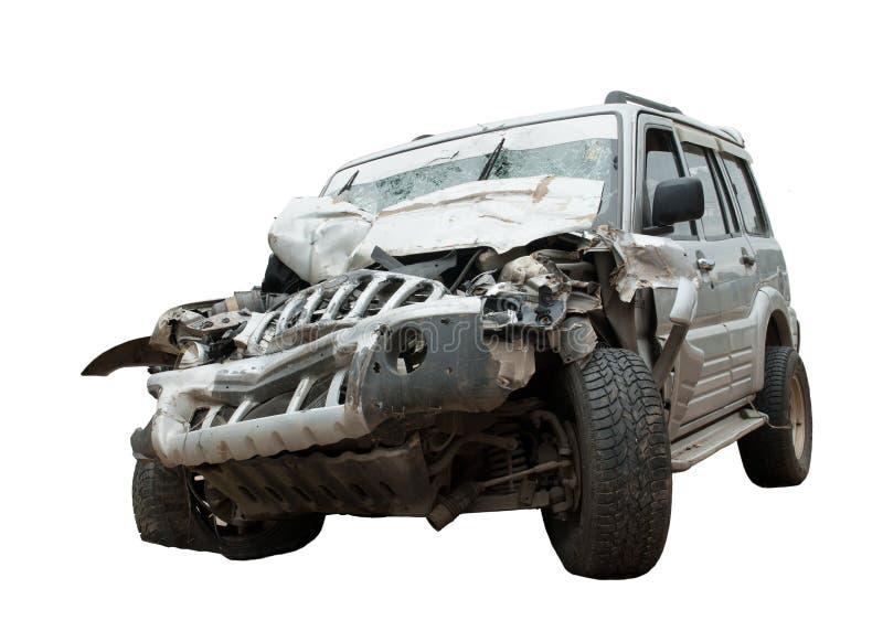 Kraschat - en räknade samman SUV royaltyfria bilder