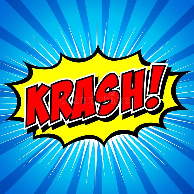Krash! - Шуточный пузырь речи, шарж иллюстрация штока