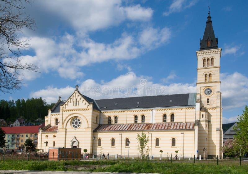 Kraslice, Western Bohemia, Czech republic. The church of the divine body in the center city Kraslice, Western Bohemia, Czech republic,Europe stock images