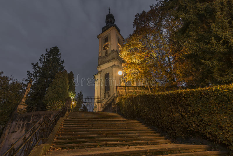 Krasna Lipa town in north Bohemia. In autumn morning time royalty free stock images