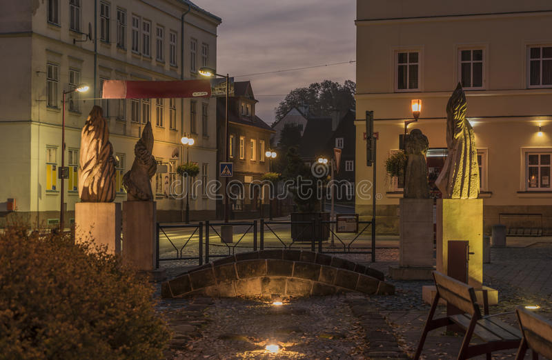 Krasna Lipa town in north Bohemia. In autumn morning time royalty free stock photography