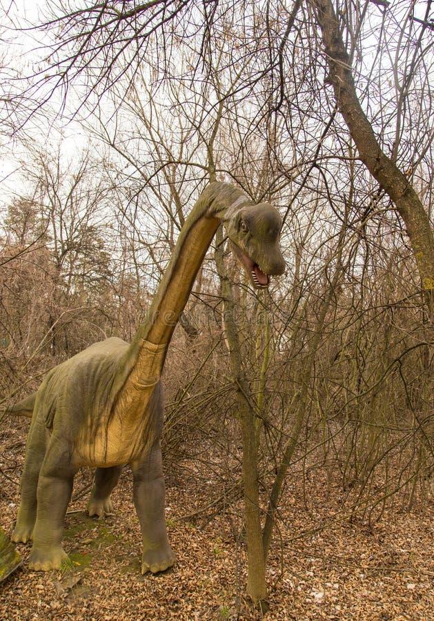 Krasnodar, Federazione Russa 5 gennaio 2018: Modello del dinosauro in Safari Park della città di Krasnodar immagini stock
