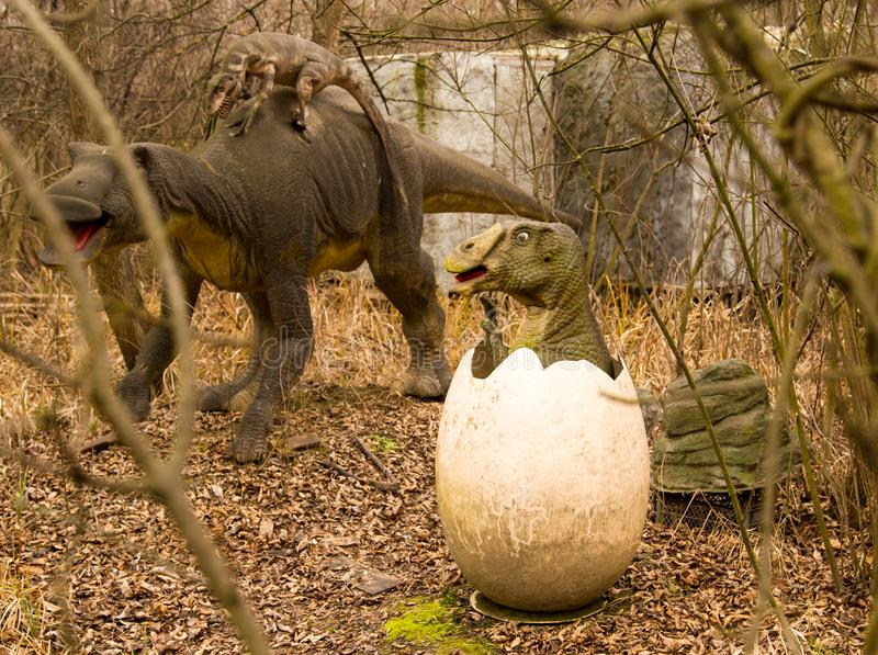 Krasnodar, Federazione Russa 5 gennaio 2018: Modello del dinosauro in Safari Park della città di Krasnodar fotografie stock