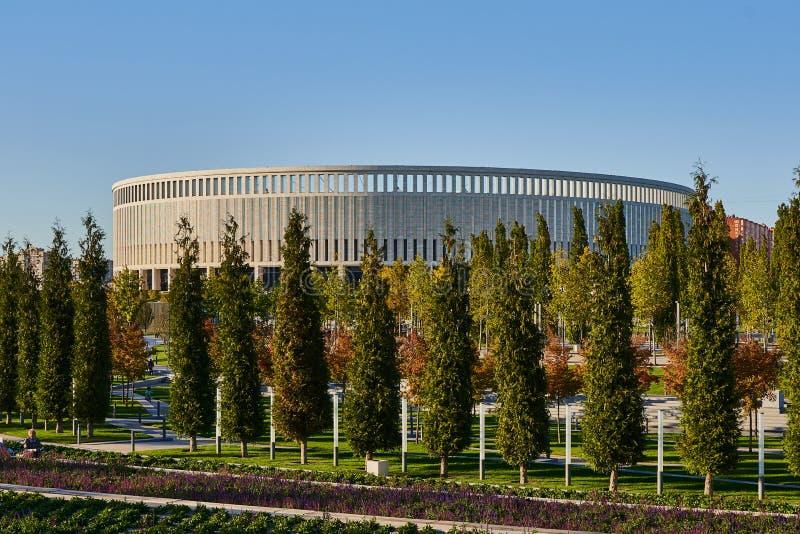 Krasnodar, Rússia - 7 de outubro de 2018: Fileiras delgadas de sempre-verde e de árvores de folhas mortas no passeio no parque de imagem de stock royalty free