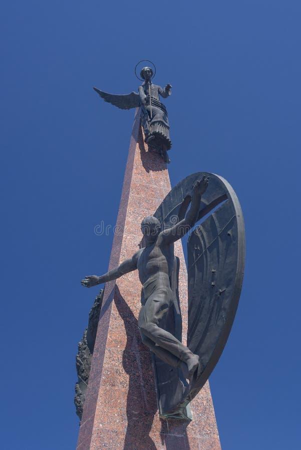 KRASNODAR ROSJA, MAJ, - 5, 2019: Pomnikowi Kuban synowie Zabijać w Afganistan w mieście parkują Chistyakovskaya gaj obraz stock