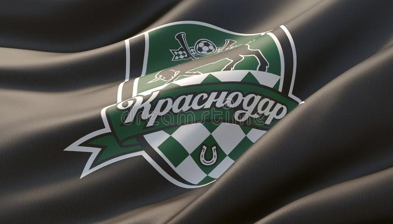 Krasnodar, Rosja - mo?e, 2019 Machaj?cy wysoce szczeg??owy w g?r? czarnej flagi z emblematem FC Krasnodar ilustracja 3 d ilustracja wektor