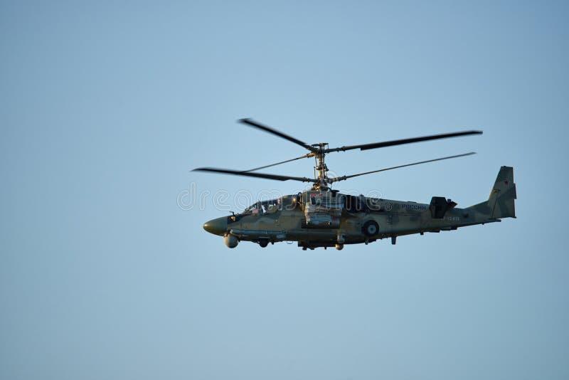 Krasnodar, Rusia - mayo de 2019: OTAN del cocodrilo del helicóptero KA-52 - vuelos del entrenamiento de la conducta de Hokum B imagen de archivo