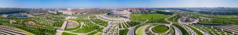 Krasnodar, Rusia - mayo de 2019: Vista panorámica ultra amplia del estadio de Krasnodar foto de archivo libre de regalías