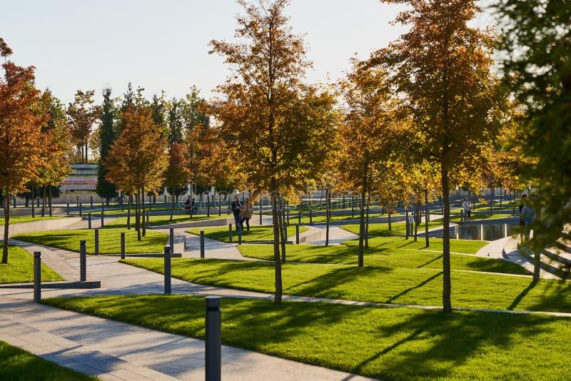 Krasnodar, Rusland - Oktober 7, 2018: De herfst gouden gebladerte van bomen met een vijver op de achtergrond in een park van Kras royalty-vrije stock fotografie