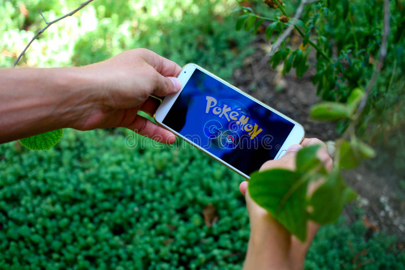 KRASNODAR, RUSLAND - op 14 Augustus, 2016: Pokemon gaat is een locatio royalty-vrije stock fotografie