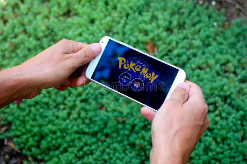 KRASNODAR, RUSLAND - op 14 Augustus, 2016: Pokemon gaat is een locatio stock afbeeldingen