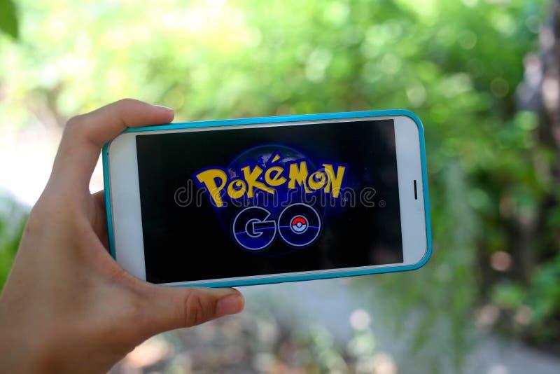 KRASNODAR, RUSLAND - op 26,2016 Juli: Pokemon gaat is een plaats stock foto
