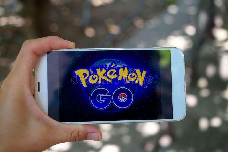 KRASNODAR, RUSLAND - op 26,2016 Juli: Pokemon gaat is een plaats stock foto's