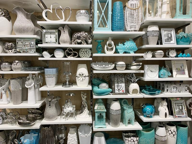 Home Decorations In Decorations Store. Modern textile shop for towels and interior decor. royalty free stock images