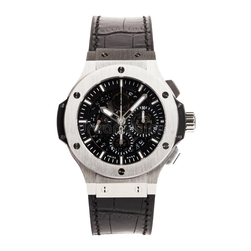 Krasnodar, Russia - January 18, 2019: Hublot, Geneve, Tuiga 1909, Big Bang. Hublot is one of the world most renounced luxury watch. Brand stock photo