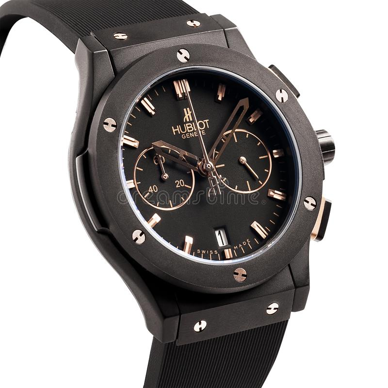 Krasnodar, Russia - January 18, 2019: Hublot, Geneve, Tuiga 1909, Big Bang. Hublot is one of the world most renounced luxury watch. Brand stock photography