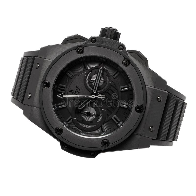 Krasnodar, Russia - January 18, 2019: Hublot, Geneve, Tuiga 1909, Big Bang. Hublot is one of the world most renounced luxury watch. Brand stock photos