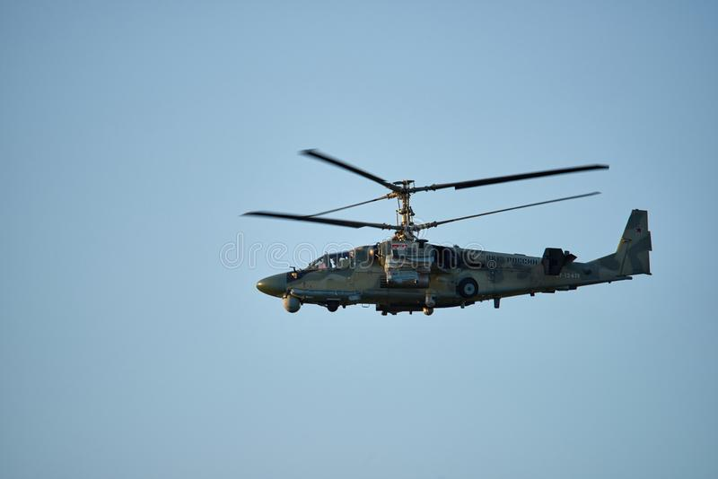 Krasnodar, Russia - May 2019: Helicopter KA-52 Alligator NATO - Hokum B conduct training flights stock image