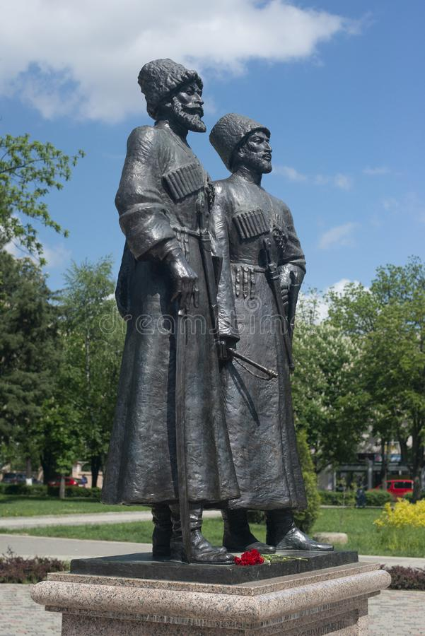Krasnodar, Russia, 7 may 2019. Monument to Cossacks and mountaineers-heroes of the First world war on Krasnaya street in Krasnodar stock photography
