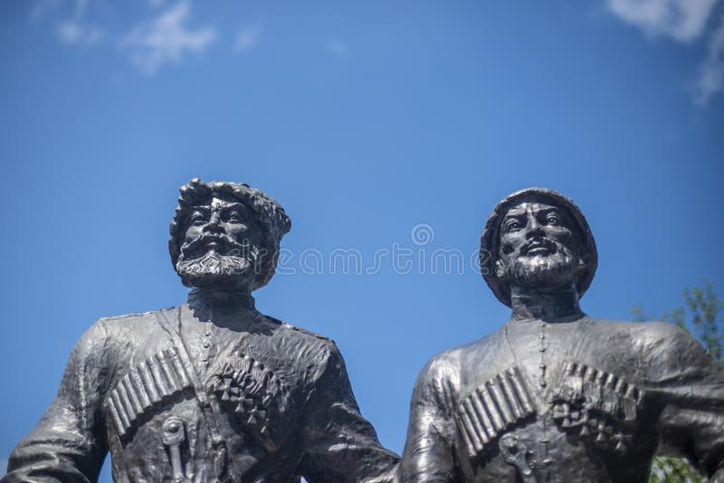 Krasnodar, Russia, 7 may 2019. Monument to Cossacks and mountaineers-heroes of the First world war on Krasnaya street in Krasnodar royalty free stock photography