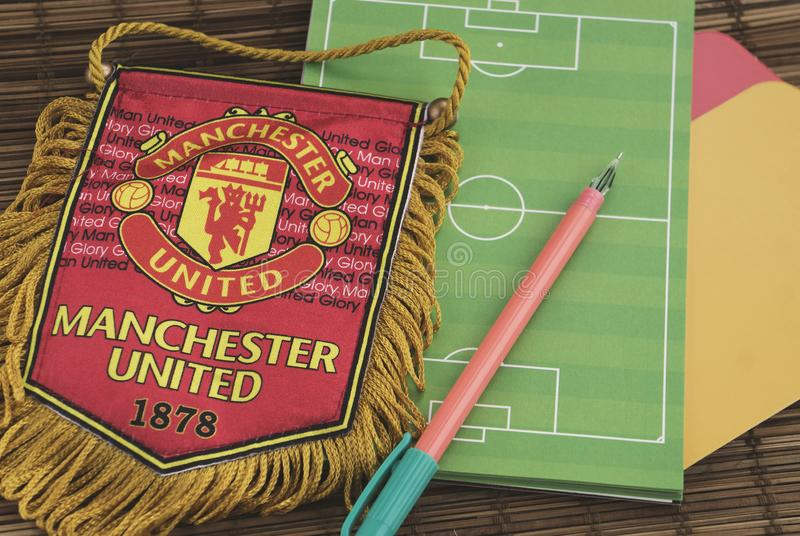 Krasnodar, Russia, 14 September 2018: Getting ready for watching the match: Sports pennant symbol of Manchester United stock images