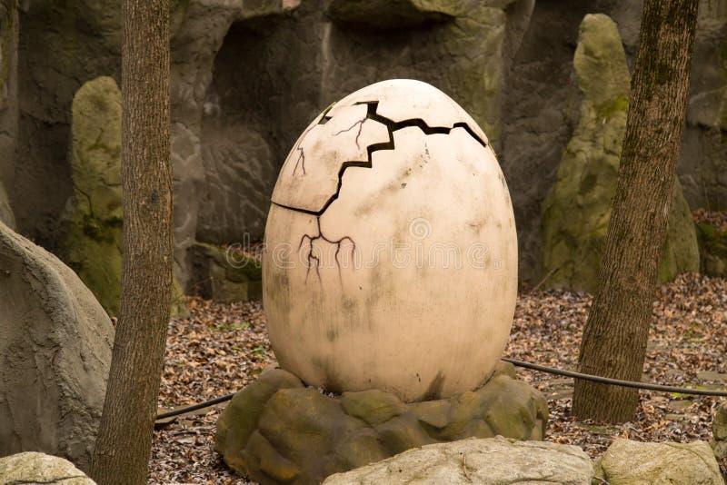 Krasnodar, Russian Federation January 5, 2018: Egg of a dinosaur in Safari Park of the city of Krasnodar.  royalty free stock photos