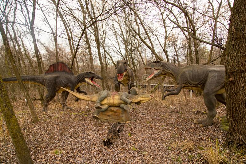 Krasnodar, Russian Federation January 5, 2018: Model of the dinosaur in Safari Park of the city of Krasnodar.  royalty free stock photos