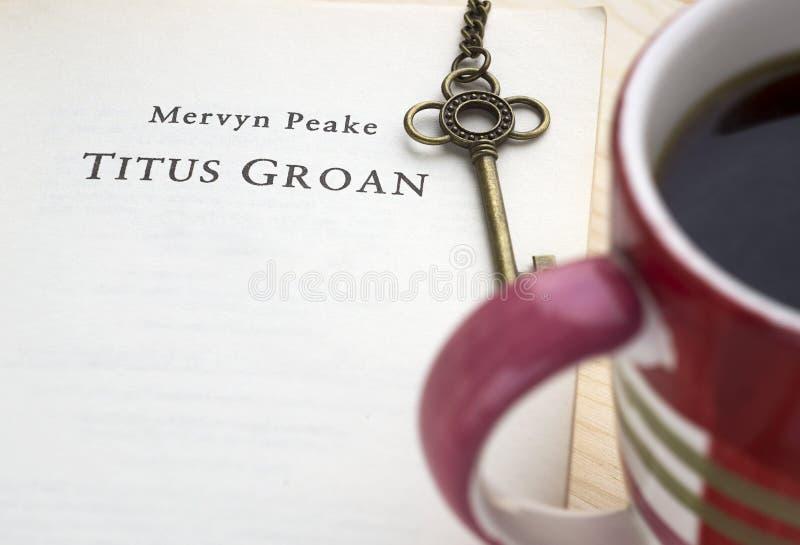 Krasnodar, Russian Federation, 21 November 2018: Reading book of famous British writer Mervyn Peake `Titus Groan` from Gormenghast. Trilogy. Title page stock photography