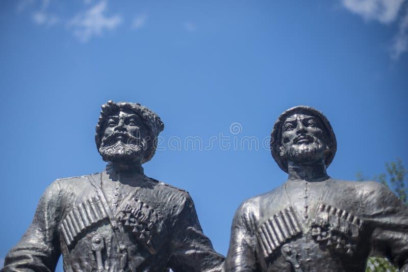 Krasnodar, Russie, 7 peut 2019 Monument aux Cosaques et aux alpiniste-héros de la première guerre mondiale sur la rue de Krasnaya photographie stock libre de droits