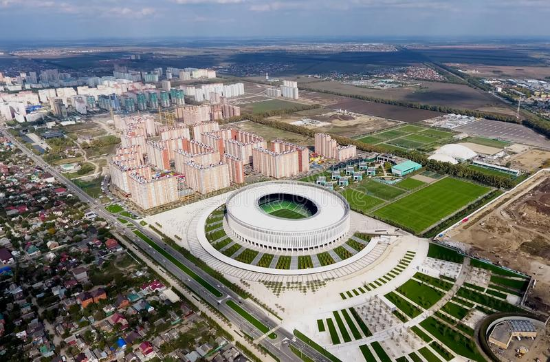 Krasnodar stadium w mieście Krasnodar Nowożytny budynek stadium w południe Rosja obrazy royalty free