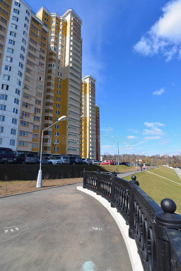Krasnogorsk RUSSIA - 15.05.2015. The picturesque embankment on the Moscow River - place of mass walks in Moscow suburbs. Krasnogorsk RUSSIA - 15.05.2015. The stock photography