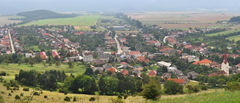 Krasnohorske podhradie. Panorama photo of village Krasnohorske podhradie near castle Krasna Horka in Slovakia royalty free stock images