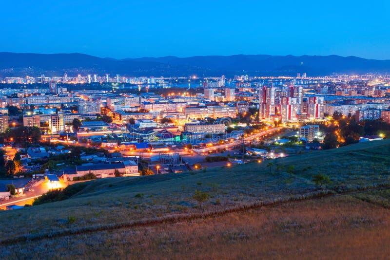 Krasnojarsk-Antennenpanoramablick lizenzfreies stockbild