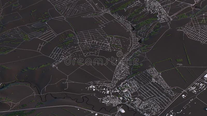 Krasnojarsk-Karte in den isometrischen Stra?en und den Geb?uden der Landschaft 3d lizenzfreie abbildung