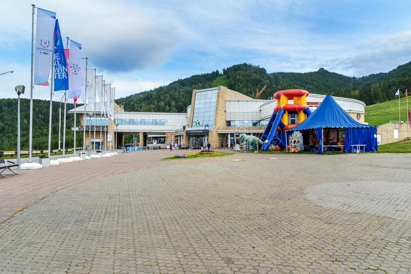 Krasnojarsk-Spaßpark Biber-Klotz Russland stockfoto