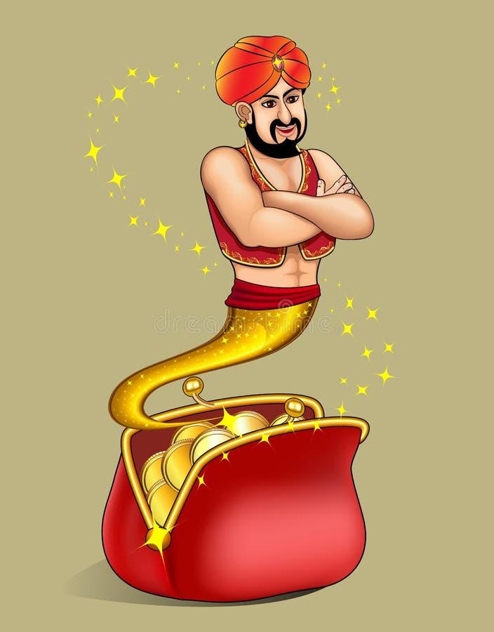 krasnoludek pojawiać się od portfla z złocistym dolarem royalty ilustracja