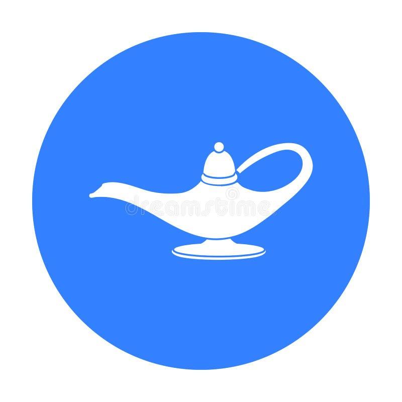 Krasnoludków s lampowa ikona w czerń stylu odizolowywającym na białym tle Czarny i biały magiczna symbolu zapasu wektoru ilustrac royalty ilustracja