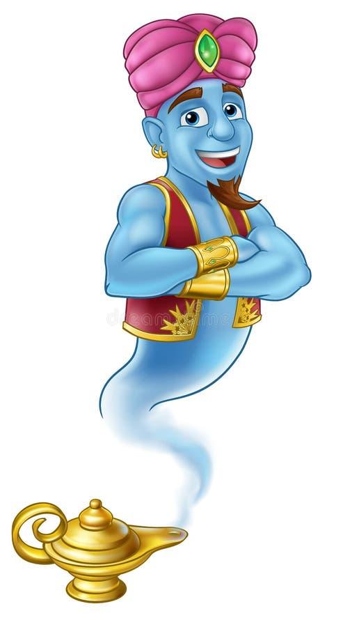 Krasnoludka Aladdin pantomimy Magiczna Lampowa kreskówka royalty ilustracja