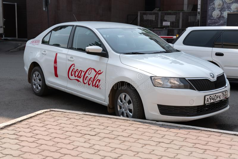 Krasnoyars, Russia, 3 july 2019: Coca Cola Company Car The Russia. stock photos