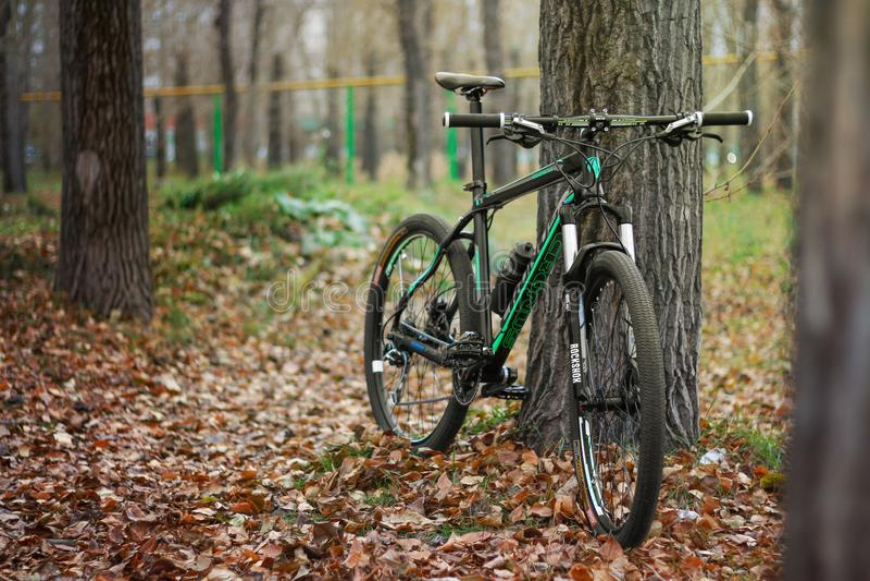 KRASNOYARSK, РОССИЯ - 16-ОЕ ОКТЯБРЯ 2017: Гора велосипед в autum стоковая фотография rf