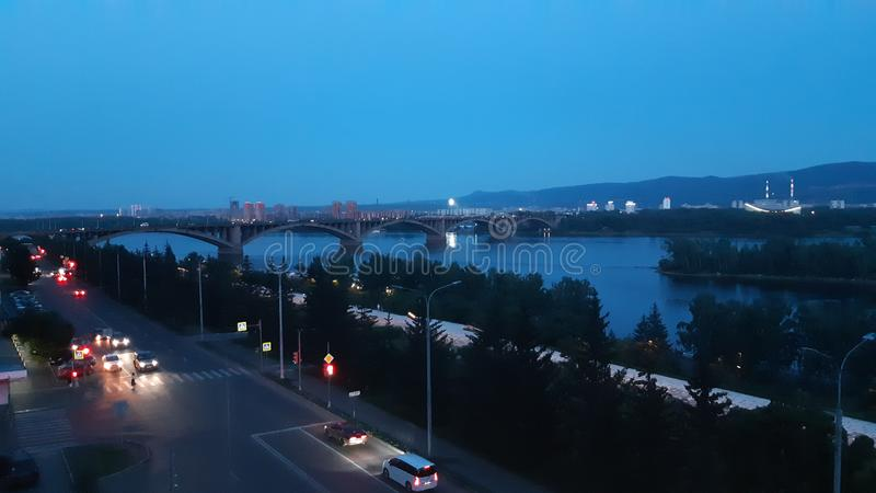 Krasnoyarsk afton arkivbild