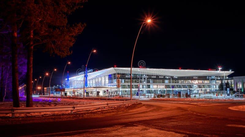 Krasnoyarsk Airport.Krasnoyarsk. Russia-17.02.2019. welcome sign for the KRASNOYARSK, RUSSIA - January 9, 2018: a royalty free stock image