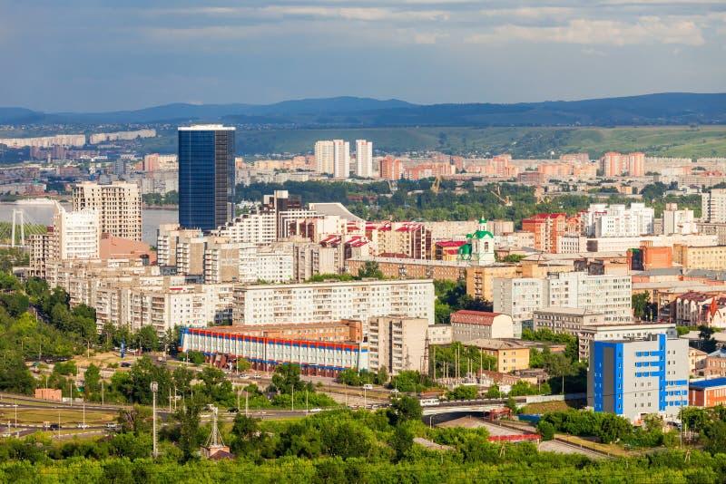 Krasnoyarsk antennpanoramautsikt royaltyfria bilder