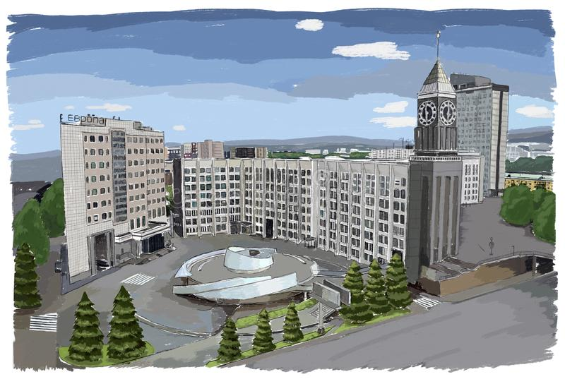Krasnoyarsk Big Ben stock illustration