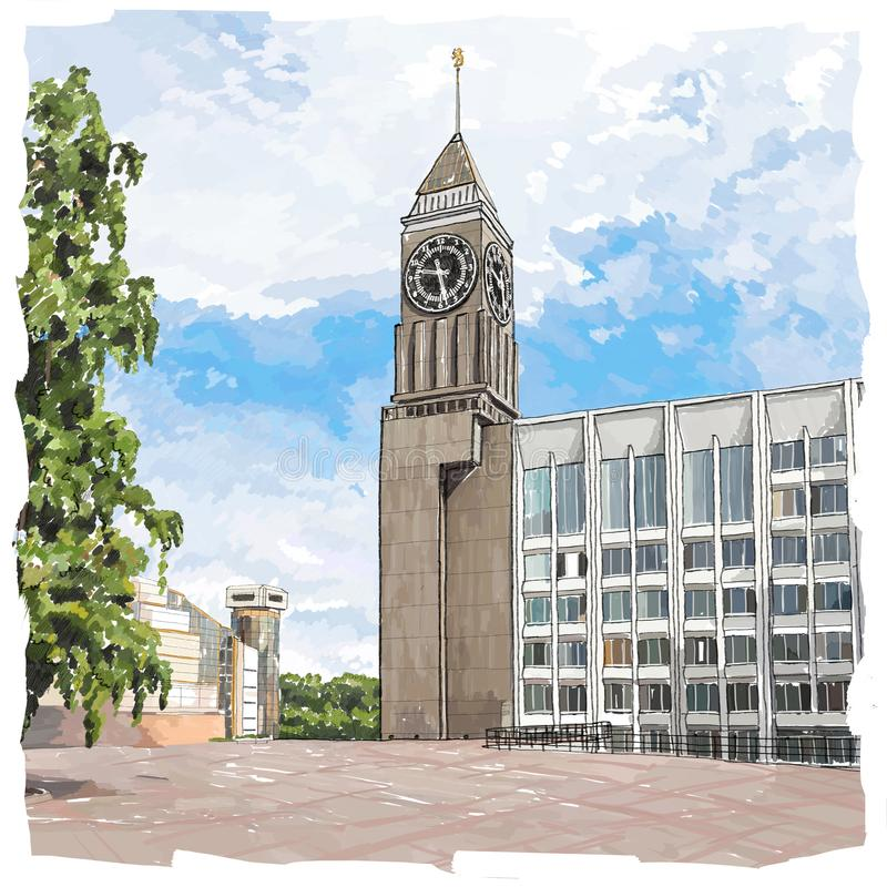 Krasnoyarsk Big Ben royalty free illustration
