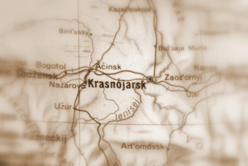 Krasnoyarsk, a city in Russia. Krasnoyarsk, a city in the Russian Federation selective sepia focus royalty free stock photos