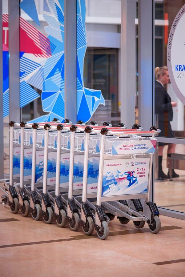 Krasnoyarsk lotnisko krasnoyarsk Russia-17 02 2019 znak powitalny dla KRASNOYARSK ROSJA, Styczeń, - 9, 2018: znak powitalny dla zdjęcie royalty free