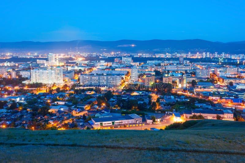 Krasnoyarsk luchtpanorama stock afbeelding