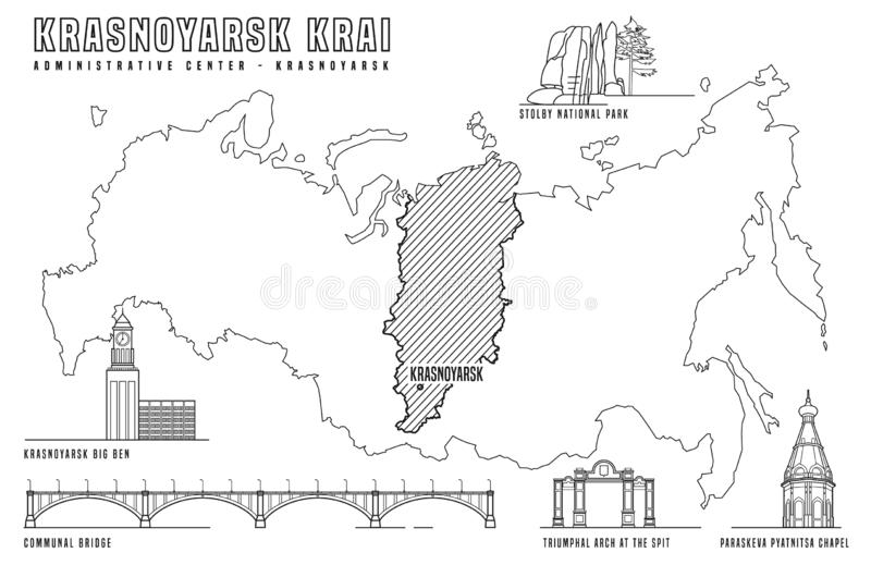 Krasnoyarsk main attractions royalty free illustration